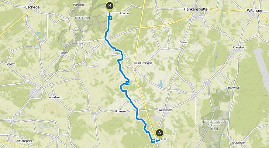 Strecke Goting Cliff nach Landhaus Räderloh